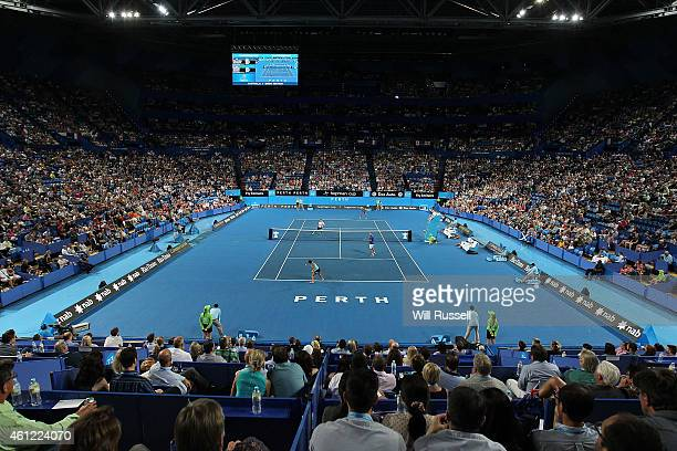 A general view of play of Casey Dellacqua and Marinko Matosevic of Australia against Heather Watson and Andy Murray of Great Britain in the mixed...