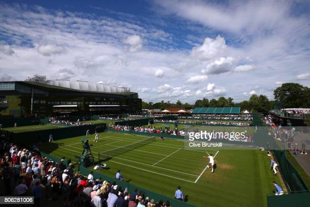 General view of play on court 8 on day one of the Wimbledon Lawn Tennis Championships at the All England Lawn Tennis and Croquet Club on July 3 2017...