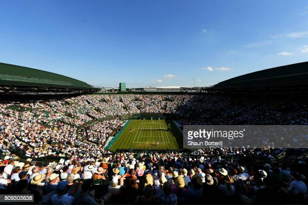 General view of play on court number one during the Ladies Singles second round match between Qiang Wang of China and Venus Williams of The United...