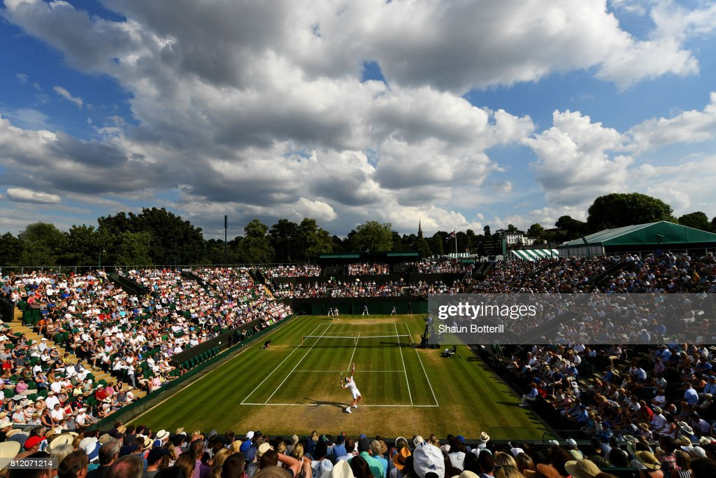 A general view of play on court two during the Gentlemen's Singles fourth round match between Milos Raonic of Canada and Alexander Zverev of Germany on day seven of the Wimbledon Lawn Tennis Championships at the All England Lawn Tennis and Croquet Club on July 10, 2017 in London, England.