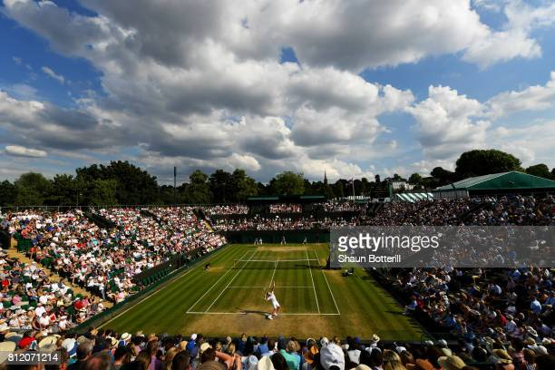 A general view of play on court two during the Gentlemen's Singles fourth round match between Milos Raonic of Canada and Alexander Zverev of Germany...