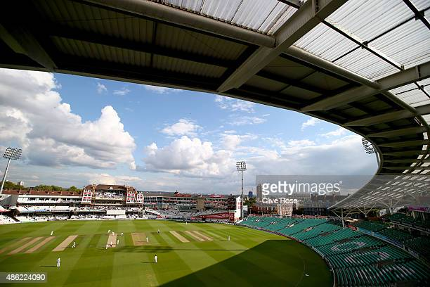 A general view of play on day two of the LV County Championship Division Two match between Surrey and Derbyshire at The Kia Oval on September 2 2015...