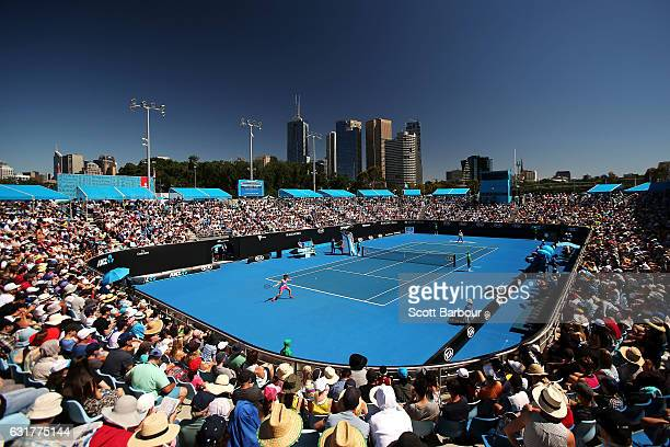 General view of play on Show Court 2 on day one of the 2017 Australian Open at Melbourne Park on January 16 2017 in Melbourne Australia