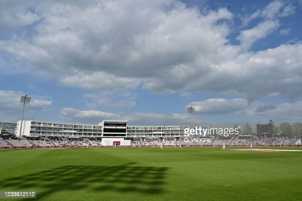 General view of play on the final day of the ICC World Test Championship Final between New Zealand and India at the Ageas Bowl in Southampton,...