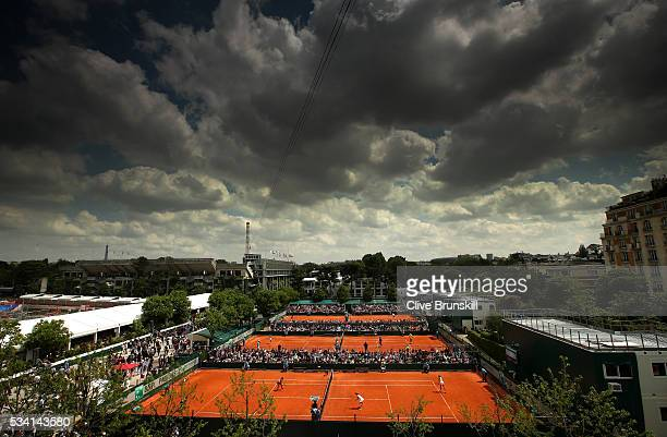 A general view of play on the outside courts during day four of the 2016 French Open at Roland Garros on May 25 2016 in Paris France