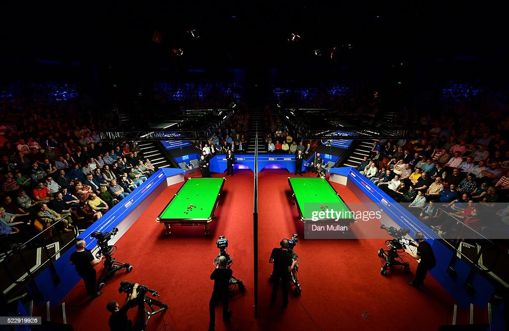 A general view of play on the two tables during day six of the World Snooker Championship at The Crucible Theatre on April 21, 2016 in Sheffield, England.