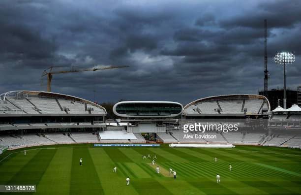 General view of play over stormy skys during Day One of the LV= Insurance County Championship match between Middlesex and Somerset at Lord's Cricket...