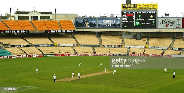 A general view of play showing an empty stand closed because of the small crowd during day one of the 2nd Test between Australia and Zimbabwe played...