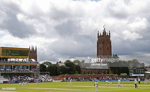 A general view of play showing the new press box and St James Church during the tour match between Somerset and Pakistan at The Cooper Associates...