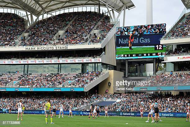 A general view of play showing the shot clock during the round one AFL match between the Port Adelaide Power and the St Kilda Saints at Adelaide Oval...
