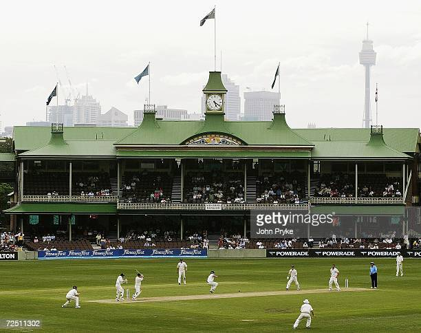 A general view of play shows the Members Stand of the Sydney Cricket Ground and Centrepoint Tower in the background on day one of the second Ashes...