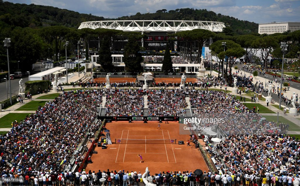 General view of play the first round match between Roberto Vinci of Italy and Ekaterina Makarova of Russia on the Pietrangeli court during their match in The Internazionali BNL d'Italia 2017 at Foro Italico on May 16, 2017 in Rome, Italy.