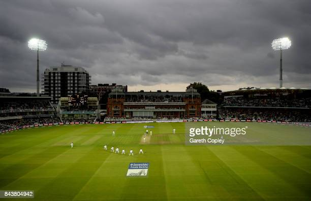 General view of play under floodlights during day one of the 3rd Investec Test match between England and the West Indies at Lord's Cricket Ground on...