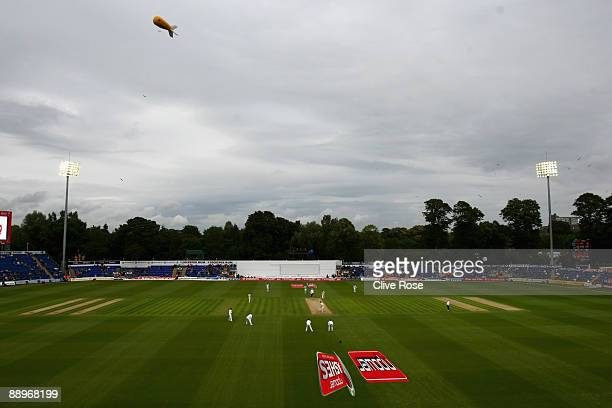 A general view of play under floodlights during day three of the npower 1st Ashes Test Match between England and Australia at the SWALEC Stadium on...