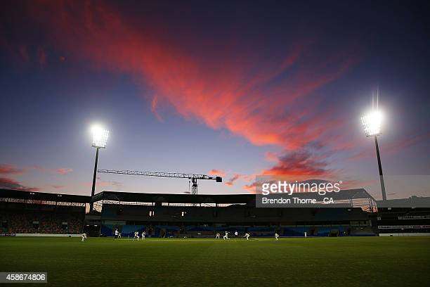 A general view of play under lights during day two of the Sheffield Shield match between Tasmania and Victoria at Blundstone Arena on November 9 2014...