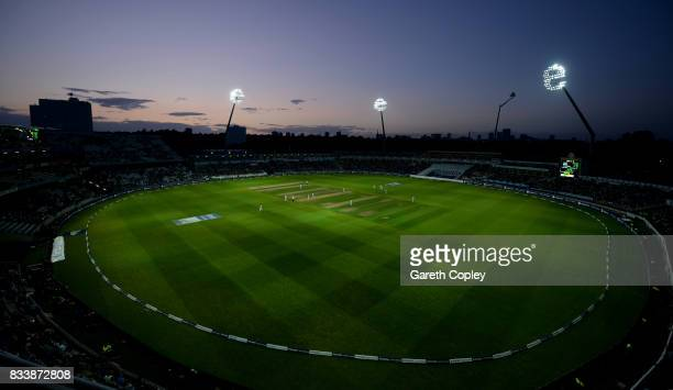 General view of play under the floodlights during the 1st Investec Test match between England and West Indies at Edgbaston on August 17 2017 in...