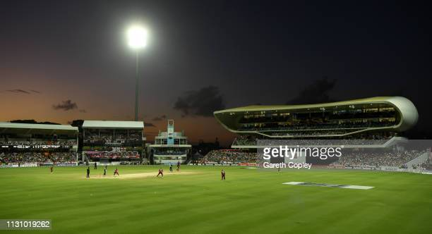 General view of play under the floodlights during the 1st One Day International match between the West Indies and England at Kensington Oval on...