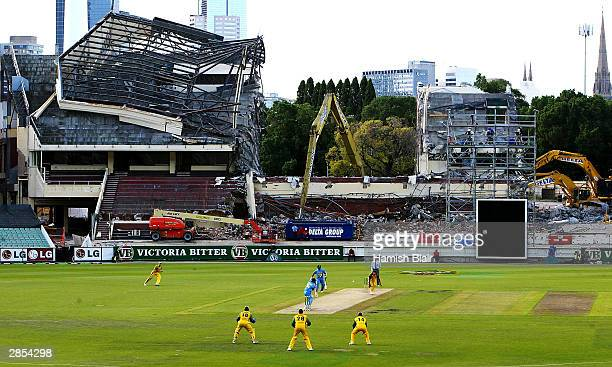 General view of play under the partially demolished Members Stand during the VB Series One Day International between Australia and India at the MCG...