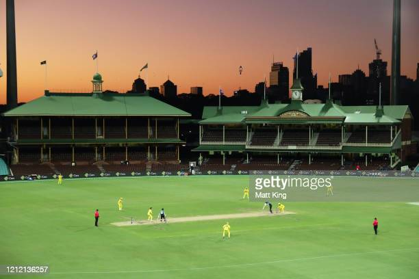 General view of play with empty stands after Cricket Australia announced no public will be admitted to venues for the three match series during game...