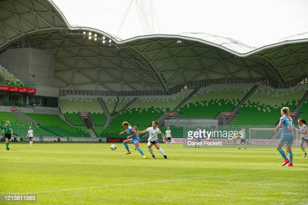 A general view of play with empty stands during the 2020 WLeague Grand Final match between Melbourne City and Sydney FC at AAMI Park on March 21 2020...