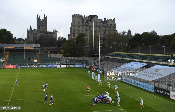 A general view of play with empty stands during the Gallagher Premiership Rugby match between Bath Rugby and Gloucester Rugby at The Rec on September...