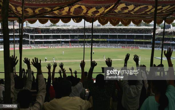 A general view of play with fans looking on during day three of the Third Test between India and Australia played at the VCA Stadium on October 28...