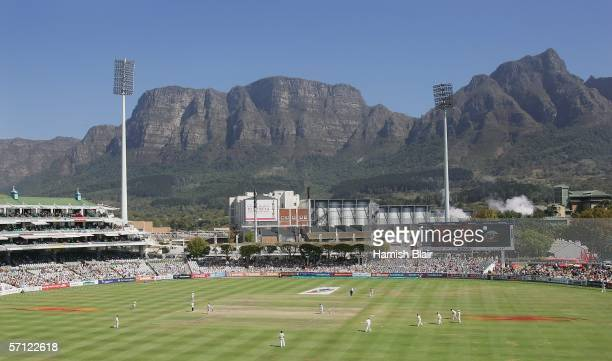 A general view of play with Table Mountain in the background during day three of the First Test between South Africa and Australia played at the...