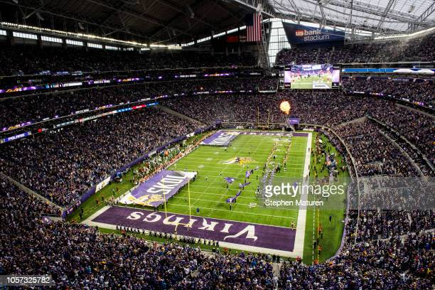 A general view of player introductions before the game between the Detroit Lions and Minnesota Vikings at US Bank Stadium on November 4 2018 in...