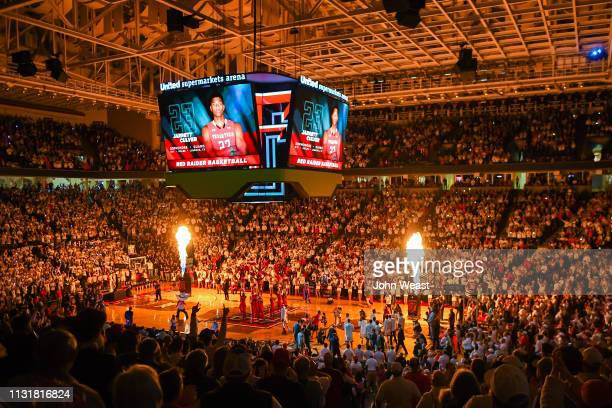 General view of player introductions before the game between the Texas Tech Red Raiders and the Kansas Jayhawks on February 23 2019 at United...