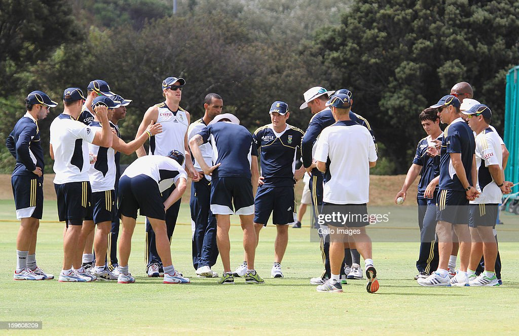 A general view of players during the South African national cricket team nets session and press conference at Claremont Cricket Club on January 17, 2013 in Cape Town, South Africa.