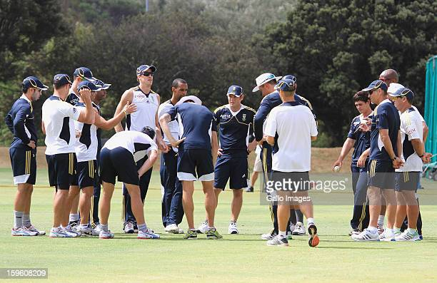 A general view of players during the South African national cricket team nets session and press conference at Claremont Cricket Club on January 17...
