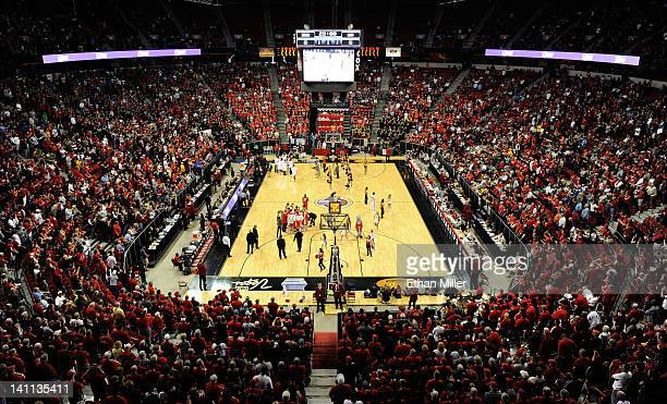 A general view of players from the New Mexico Lobos and the San Diego State Aztecs being introduced before the championship game of the Conoco...