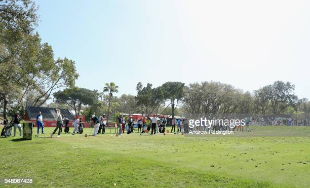 A general view of players on the practice ground during the Pro Am event prior to the start of the Trophee Hassan II at Royal Golf Dar Es Salam on...