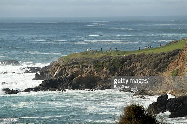 A general view of players on the seventh hole during round three of the ATT Pebble Beach National ProAm at Pebble Beach Golf Links on February 13...