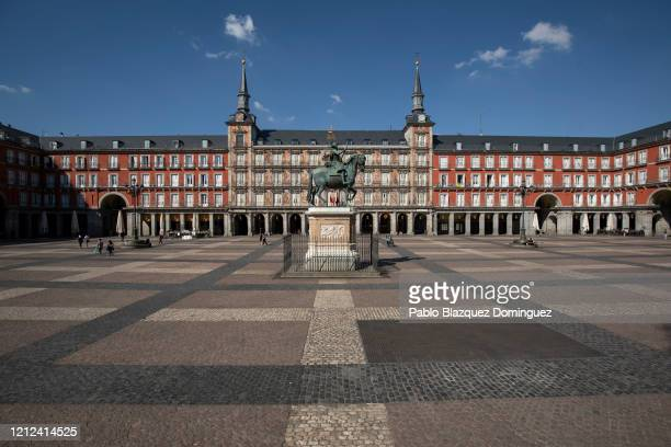A general view of Plaza Mayor Square on March 14 2020 in Madrid SpainThe Spanish government has declared a state of emergency and is imposing a 15...