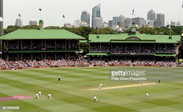 A general view of plenty of spectators wearing pink in the Members Pavilion and the Ladies Pavilion renamed the Jane McGrath Stand for the day as...
