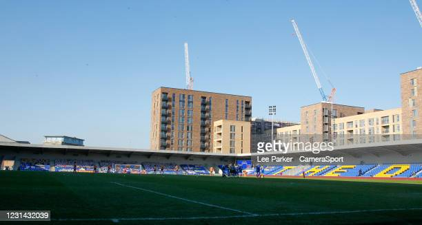 General view of Plough Lane during the Sky Bet League One match between AFC Wimbledon and Hull City at on February 27, 2021 in Wimbledon, England.
