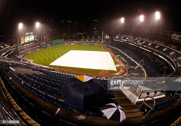 A general view of PNC Park during a rain delay in the sixth inning during the game between the Chicago Cubs and the Pittsburgh Pirates at PNC Park on...