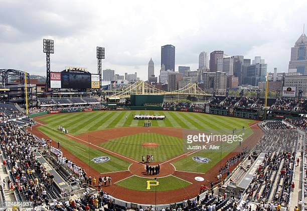 General view of PNC Park during the ceremony to commemorate September 11th, 2001 before the game between the Pittsburgh Pirates and the Florida...