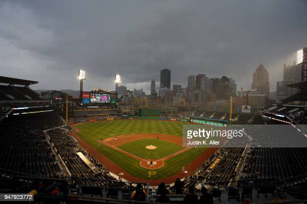 A general view of PNC Park during the game between the Pittsburgh Pirates and the Colorado Rockies at PNC Park on April 17 2018 in Pittsburgh...