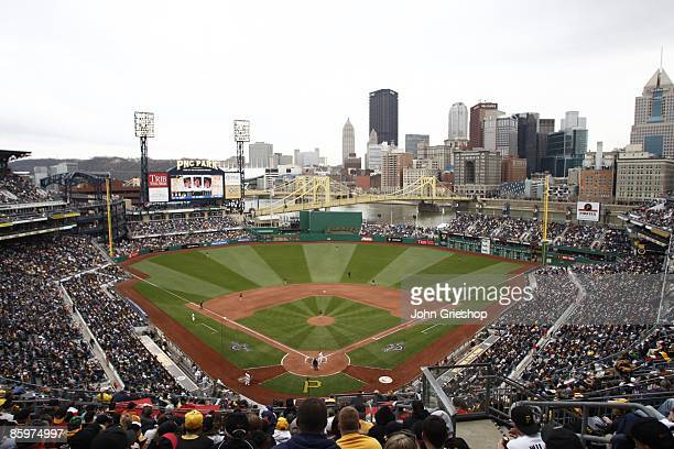 General view of PNC Park with a sellout crowd of 38411 fans braving the weather during the game against the Houston Astros on April 13 2009 at PNC...