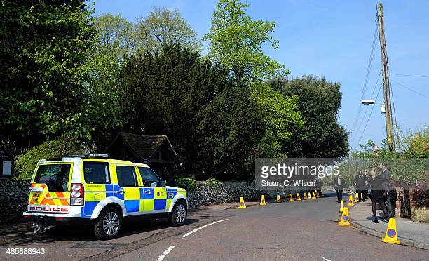 A general view of police and media outside Davington Church prior to the funeral of Peaches Geldof who died aged 25 on April 7 at St Mary Magdalene...