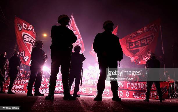 A general view of police during the team arrival in fron of the stadium before the match between Sao Paulo and Toluca as part of Group 1 of Copa...