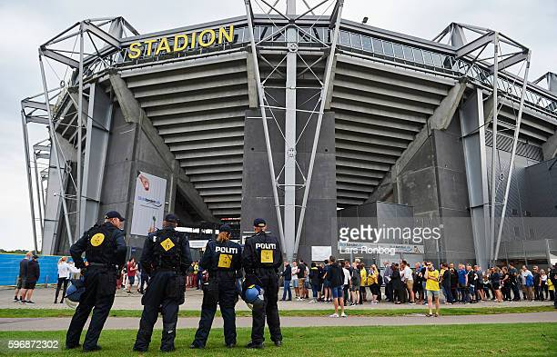 General view of Police outside the ground prior to the Danish Alka Superliga match between Brondby IF and FC Copenhagen at Brondby Stadion on August...