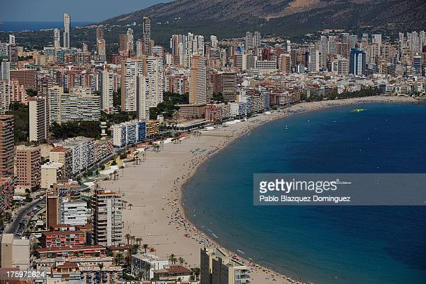 A general view of Poniente beach on August 9 2013 in Benidorm Spain Benidorm is one of Europe's top package holiday destinations and one of Spain's...