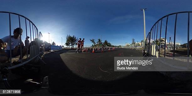 RIO DE JANEIRO BRAZIL FEBRUARY 28 General view of Pontal beach during the Caixa Brasil Race Walk Cup Aquece Rio Test Event for the Rio 2016 Olympics...