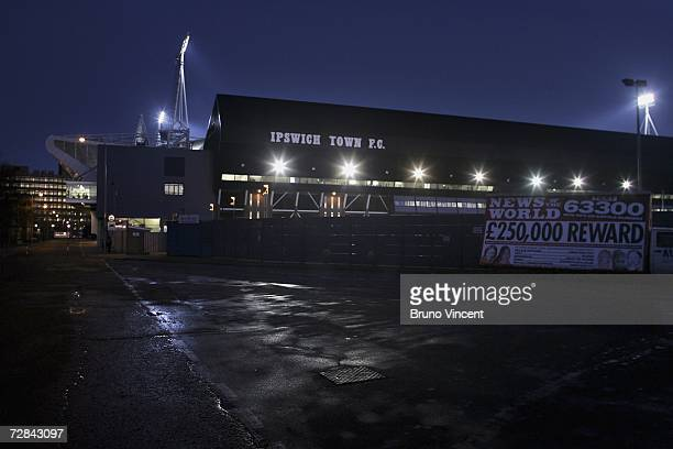 A general view of Portman Road Ipswich Town's football ground on December 16 2006 in Ipswich England Police investigating the murders of five women...