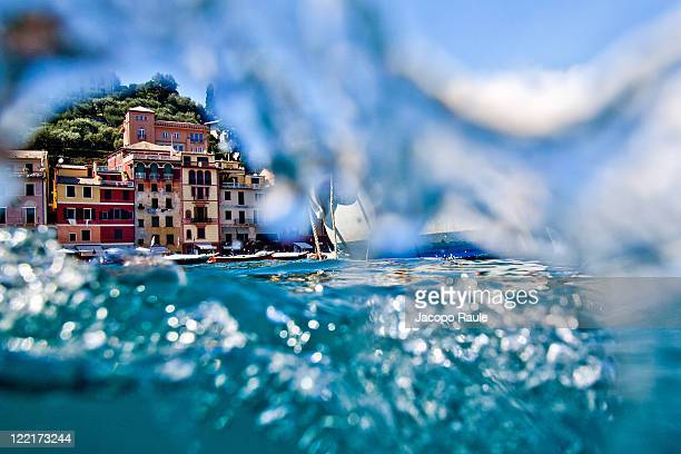 General view of Portofino from the sea on July 18 2011 in Portofino Italy