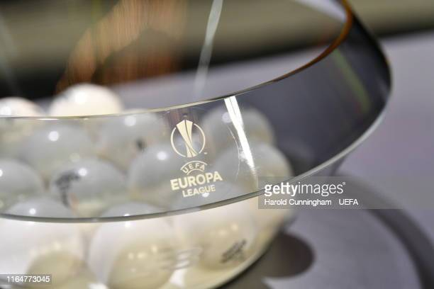 General view of pots and balls during the UEFA Europa League 2019/20 Group Stage Draw, part of the UEFA European Club Football Season Kick-Off...