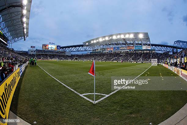 A General View of PPL Park from the field during the MLS game between Sporting Kansas City and the Philadelphia Union on March 2 2013 in Chester...